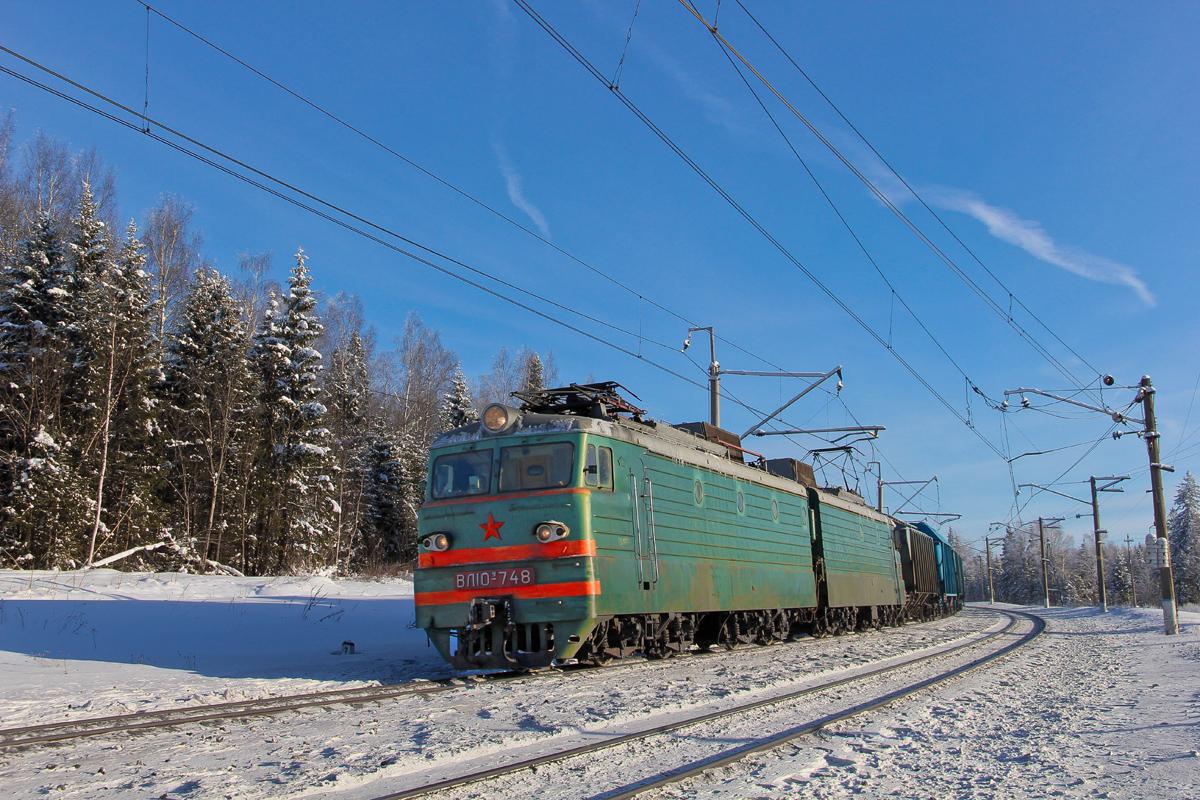 Электровоз ВЛ10У-748 на перегоне Чисмена - Волоколамск