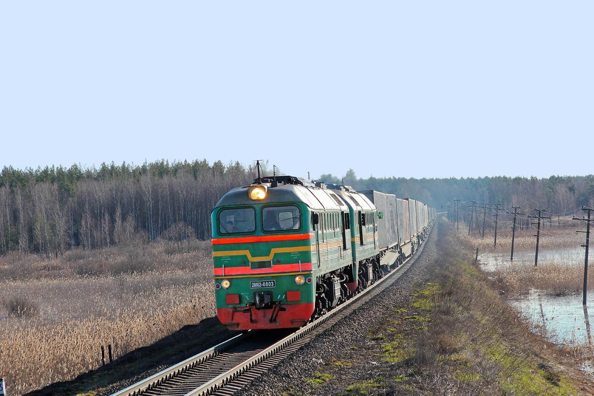 Тепловоз 2М62-0803 с контейнерным поездом на перегоне Кафтино - Платищенка