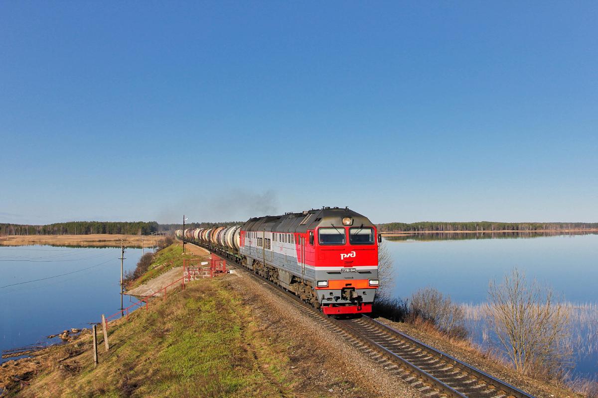 Тепловоз 2ТЭ116У-0144 с грузовым поездом, перегон Платищенка - Кафтино