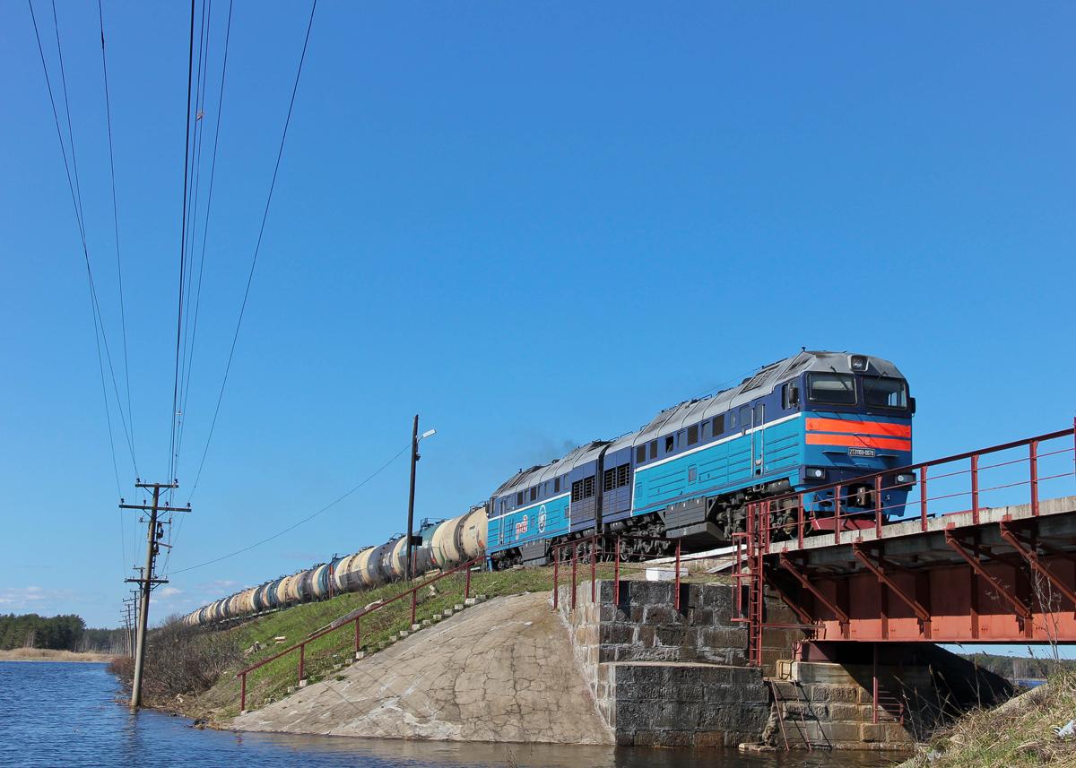 Тепловоз 2ТЭ116У-0078 с грузовым поездом, перегон Платищенка - Кафтино