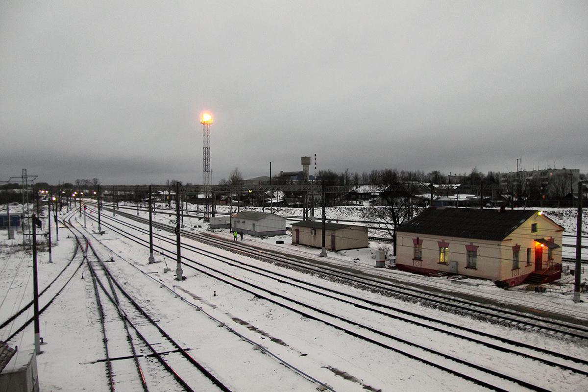 Вид с моста станции Спирово в сторону станции Осеченка