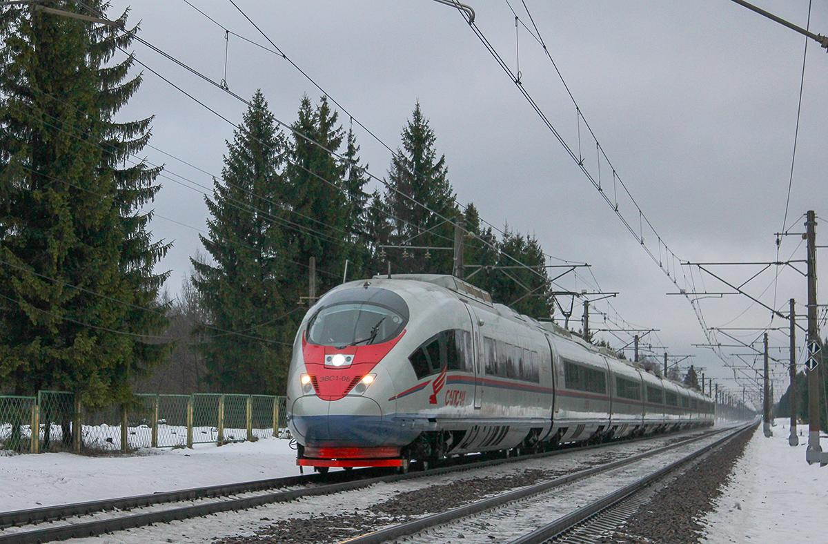 Электропоезд ЭВС1-08 «Сапсан» на перегоне Калашниково - Спирово