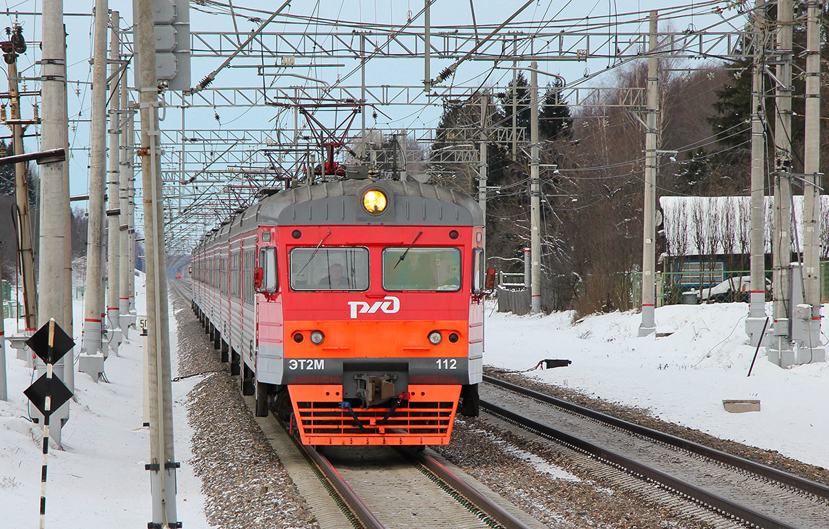 Электропоезд ЭТ2М-112 на перегоне Тверь - Редкино
