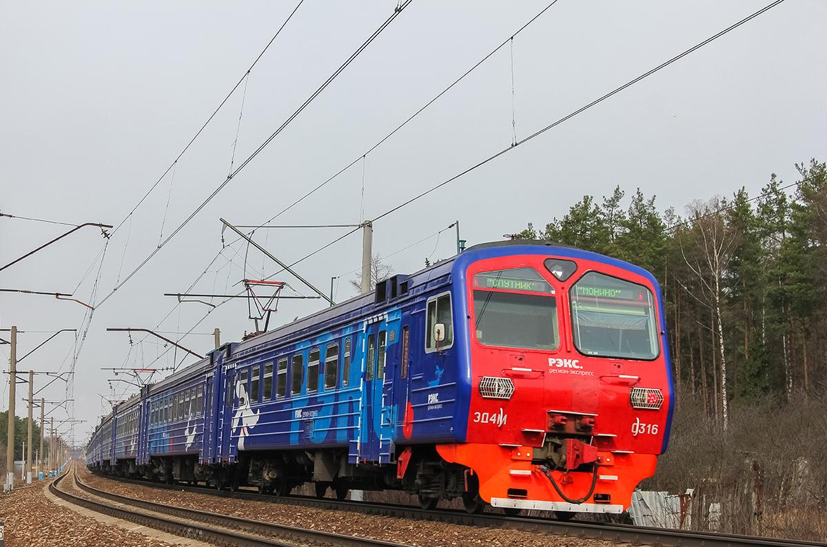 Электропоезд ЭД4М-0395 на перегоне Монино - Чкаловская