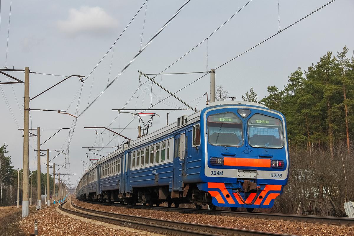 Электропоезд ЭД4М-0226 на перегоне Монино - Чкаловская