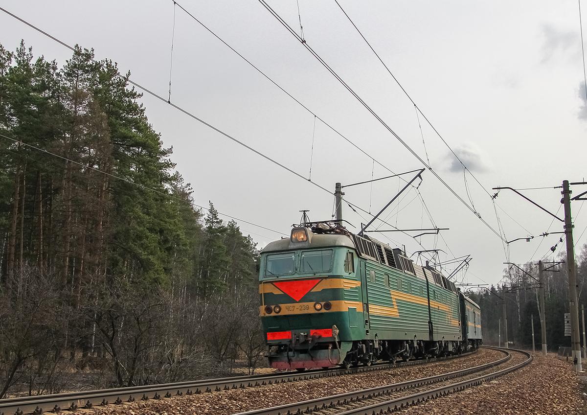 Электровоз ЧС7-239 в голове поезда Пекин - Москва, перегон Монино - Чкаловская