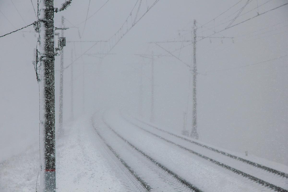 Вид от платформы Межево в сторону станции Редкино