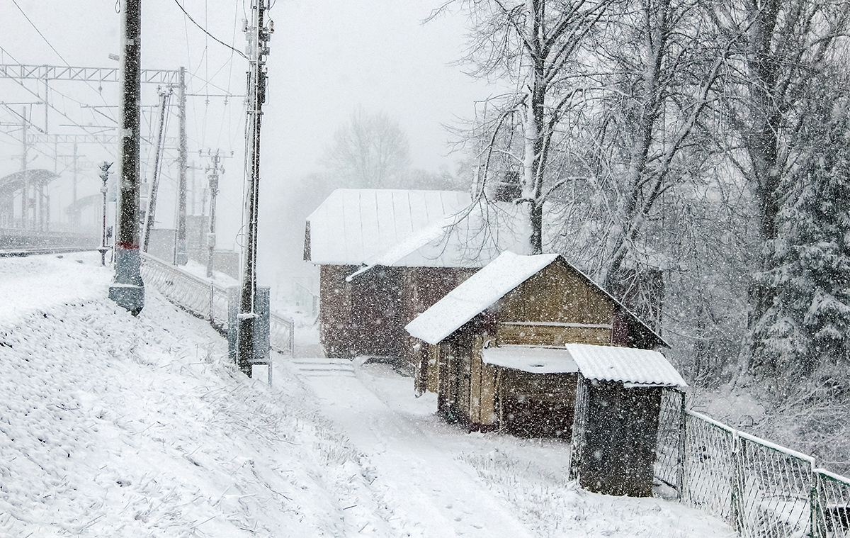 Станционные постройки близ платформы Межево