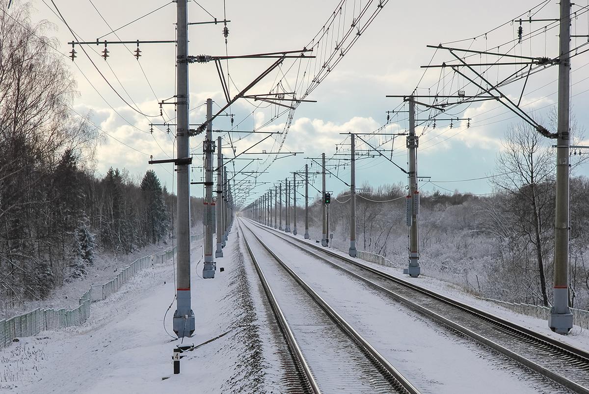Вид от платформы Межево в сторону ст. Тверь