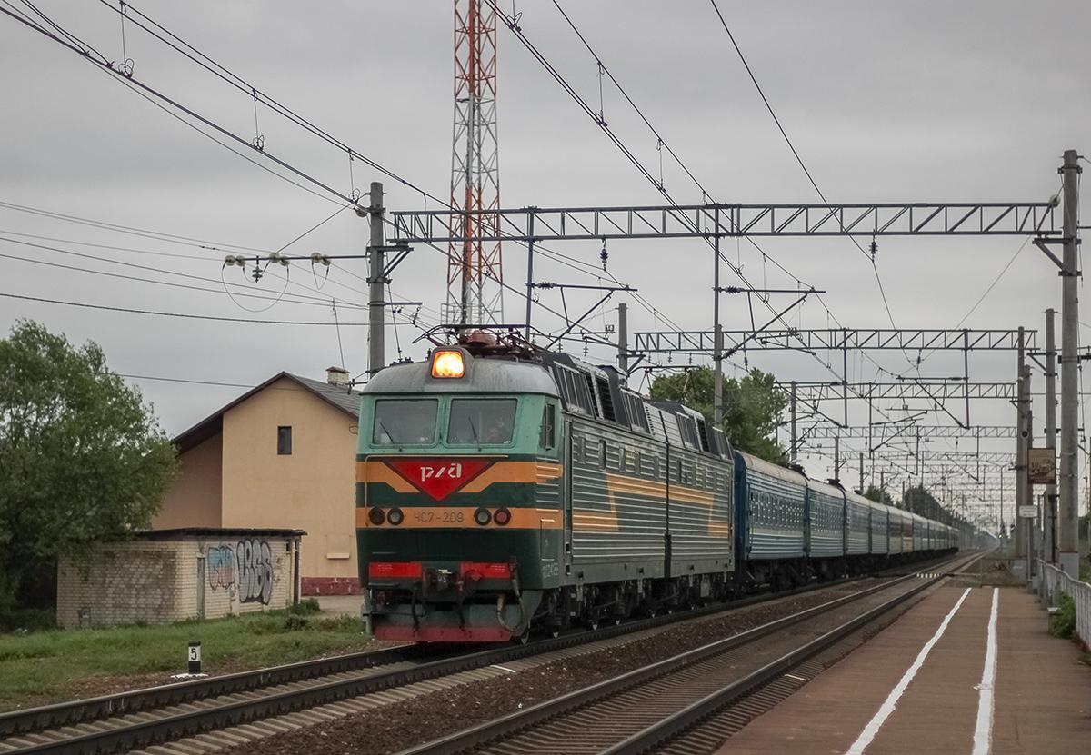 Электровоз ЧС7-209 с пассажирским поездом, перегон Лихославль - Дорошиха