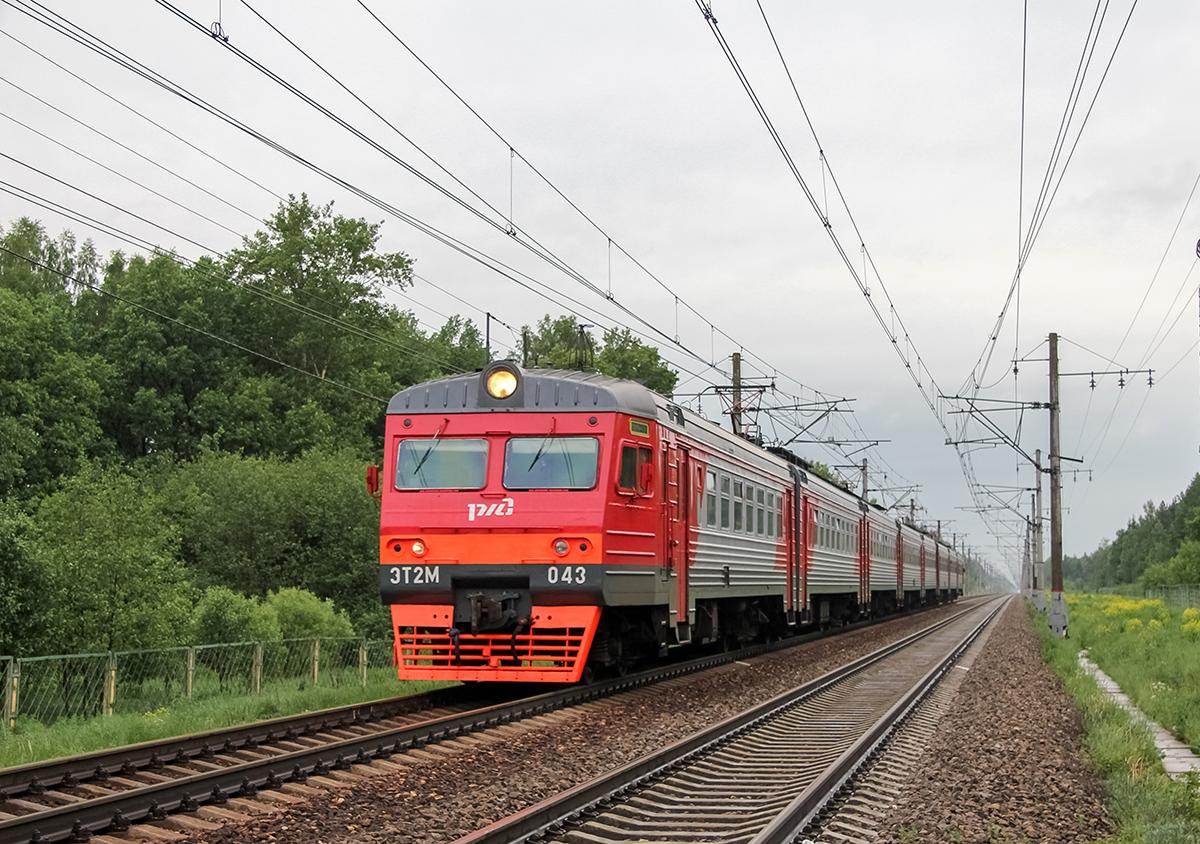 Электропоезд ЭТ2М-043 прибывает к платформе Брянцево, перегон Лихославль - Дорошиха