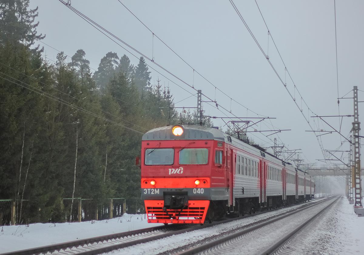 Электропоезд ЭТ2М-040 на перегоне Лихославль - Дорошиха