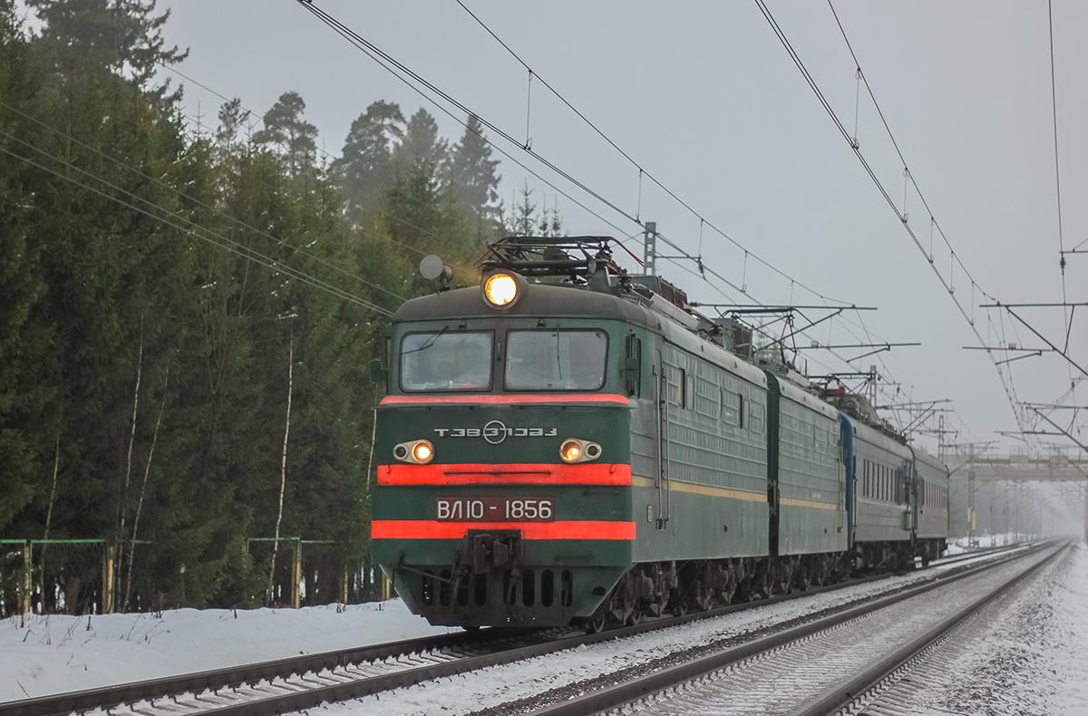 Электровоз ВЛ10-1856 с путеизмерителями на перегоне Лихославль - Дорошиха