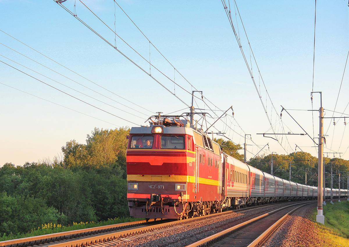 Электровоз ЧС2Т-971 с поездом, перегон Клин - Подсолнечная