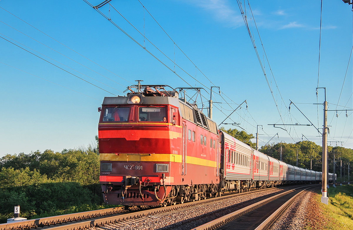Электровоз ЧС2Т-991 с поездом, перегон Клин - Подсолнечная