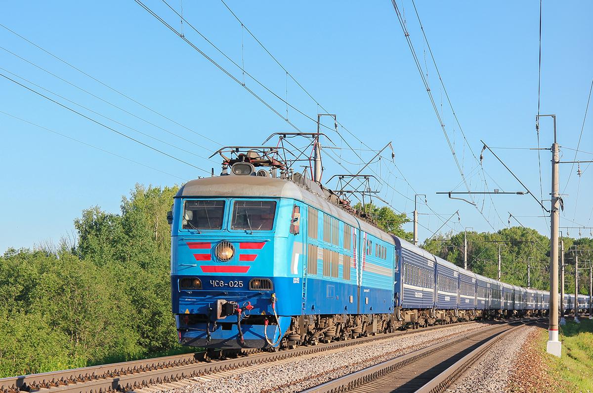 """Электровоз ЧС6-025 с поездом №3 """"Экспресс"""", перегон Клин - Подсолнечная"""