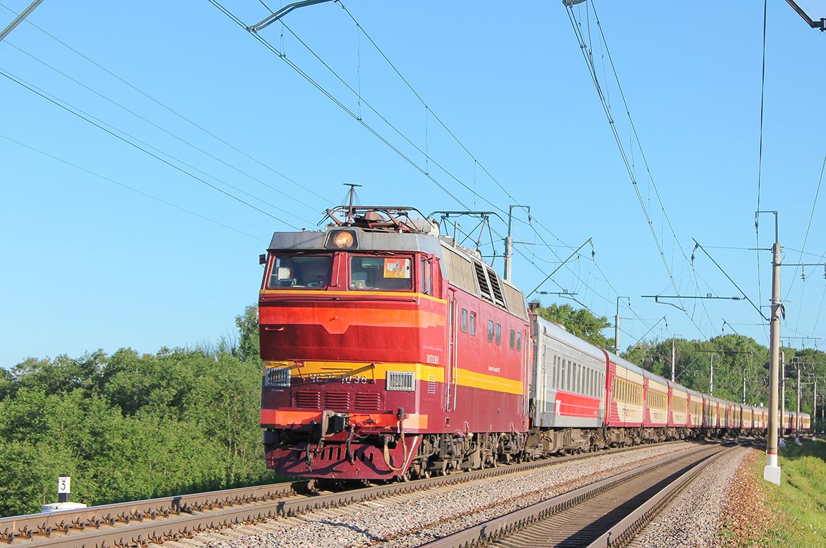"""Электровоз ЧС2Т-1036 с поездом №53Ч """"Гранд Экспресс"""", перегон Клин - Подсолнечная"""