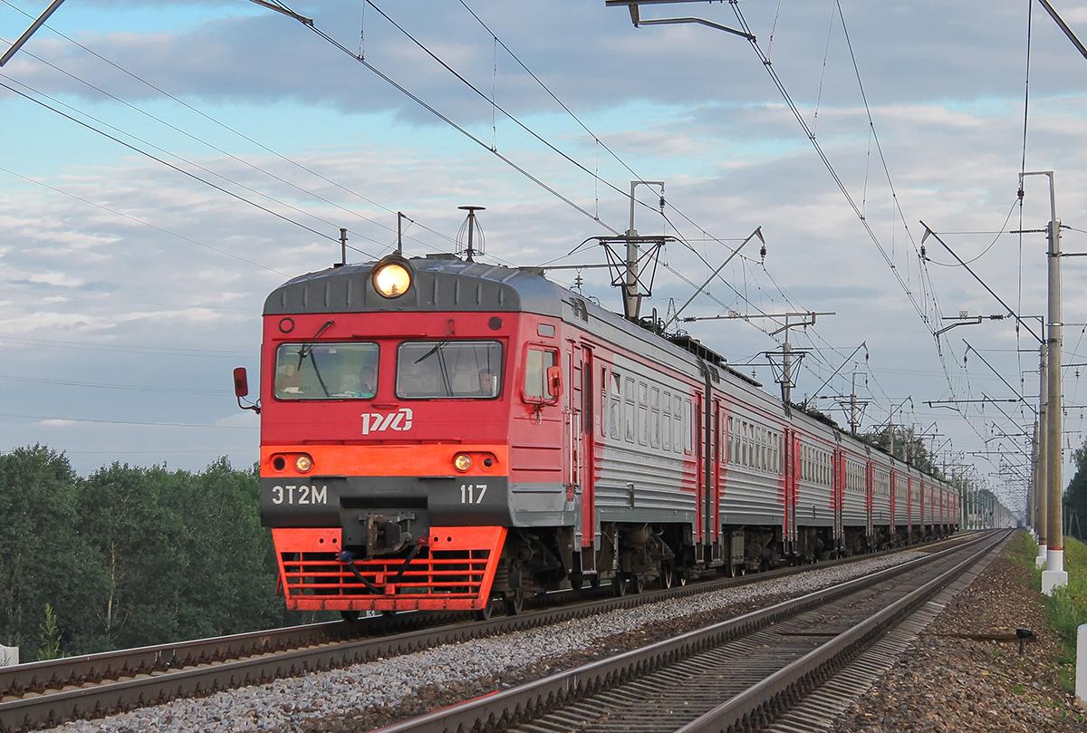 Электропоезд ЭТ2М-117 в окрестностях платформы Сенеж, перегон Клин - Подсолнечная
