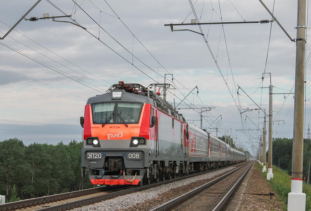 Электровоз ЭП20-008 с поездом №31 «Лев Толстой», перегон Клин - Подсолнечная