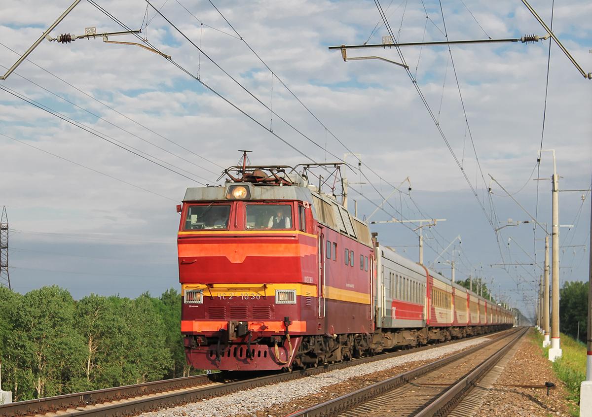 Электровоз ЧС2Т-1036 с поездом №53Ч «Гранд Экспресс», перегон Клин — Подсолнечная