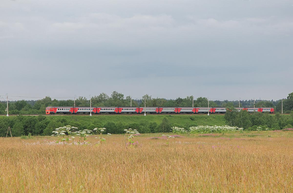Электропоезд ЭТ2-013 на перегоне Клин - Подсолнечная