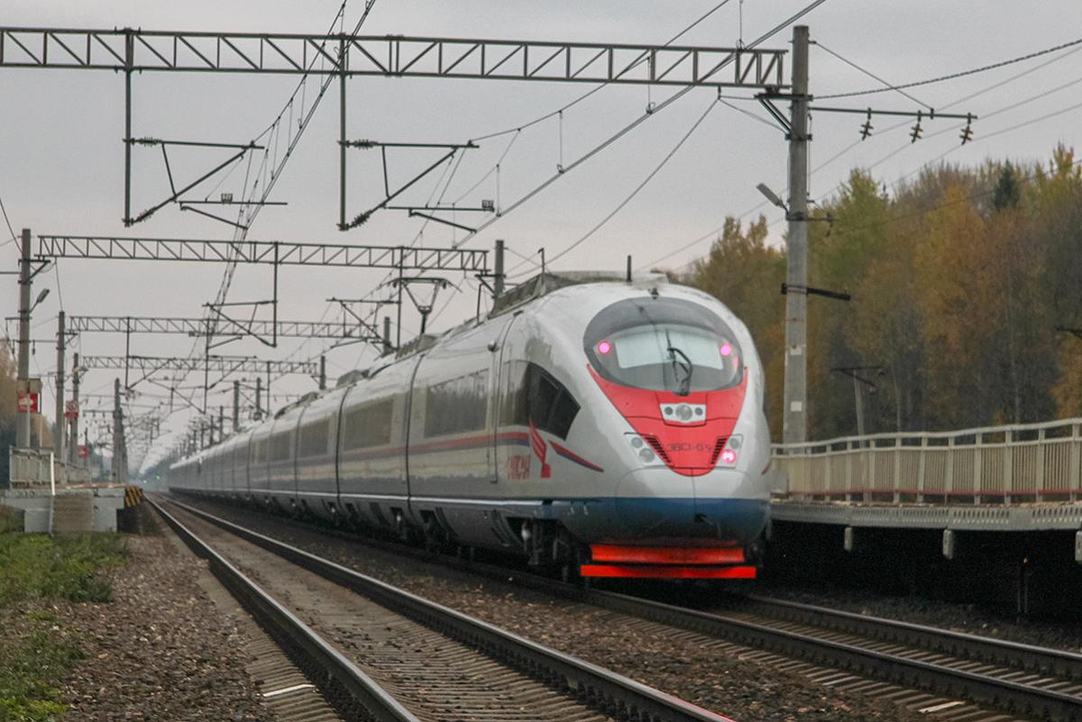 Сдвоенный электропоезд ЭВС1-09/ЭВС1-10 «Сапсан» у платформы Черничная, перегон Завидово - Решетниково,