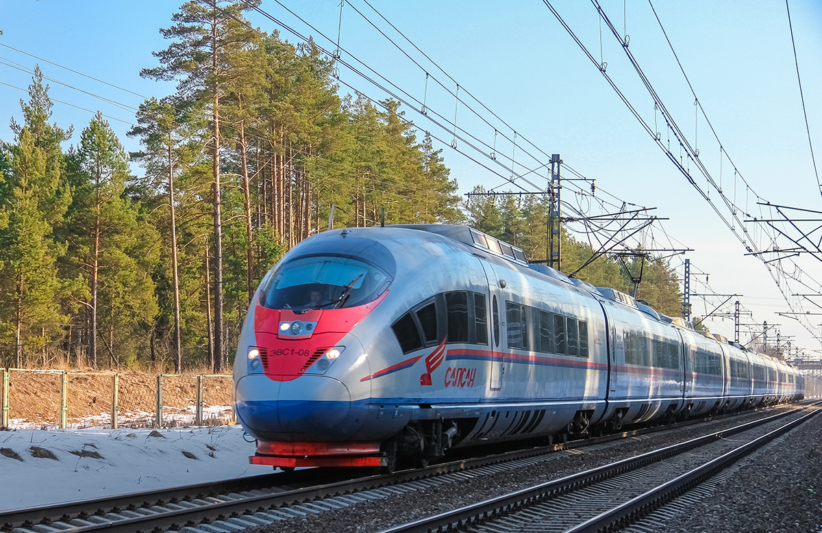 "Электропоезд ЭВС1-08 ""Сапсан"" на перегоне Дорошиха - Лихославль"