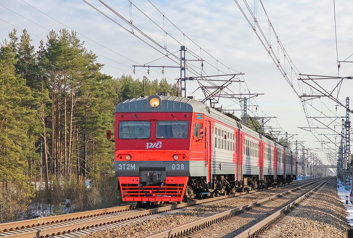 Электропоезд ЭТ2М-038 на участке Санаторий- Тверца,перегон Дорошиха - Лихославль