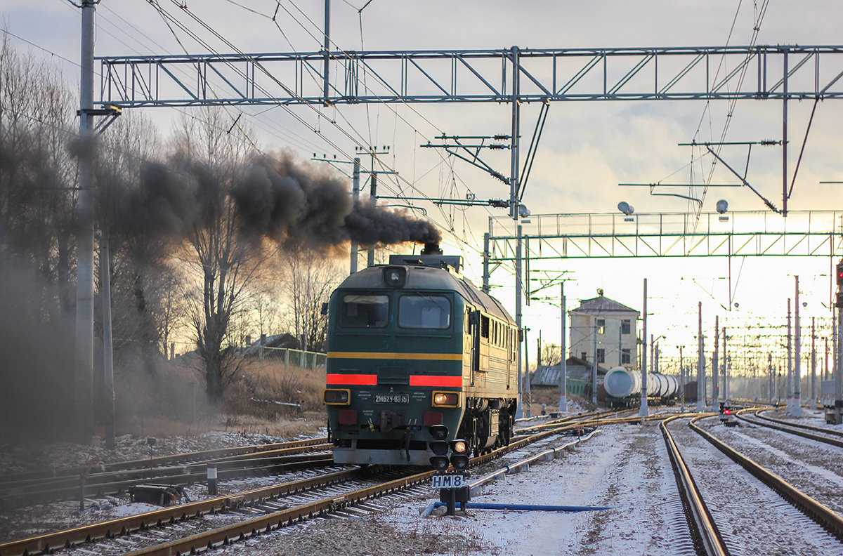 Тепловоз 2М62У-0335 на станции Окуловка