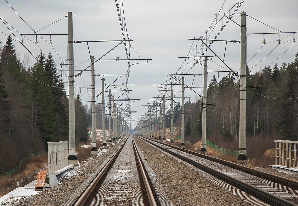 Перегон Окуловка - Боровёнка, 237-й километр, вид на Санкт-Петербург