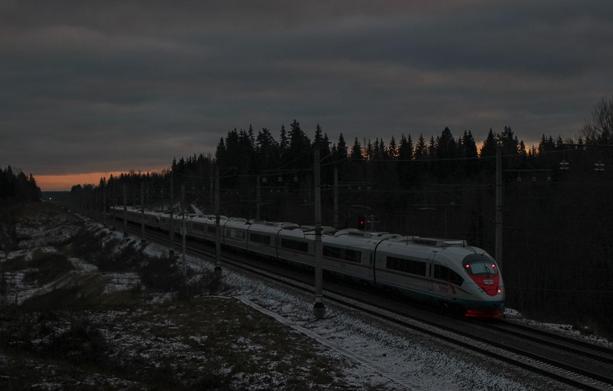 """Электропоезда ЭВС1-09 и ЭВС1-10 """"Сапсан"""" на перегоне Боровёнка - Окуловка,"""