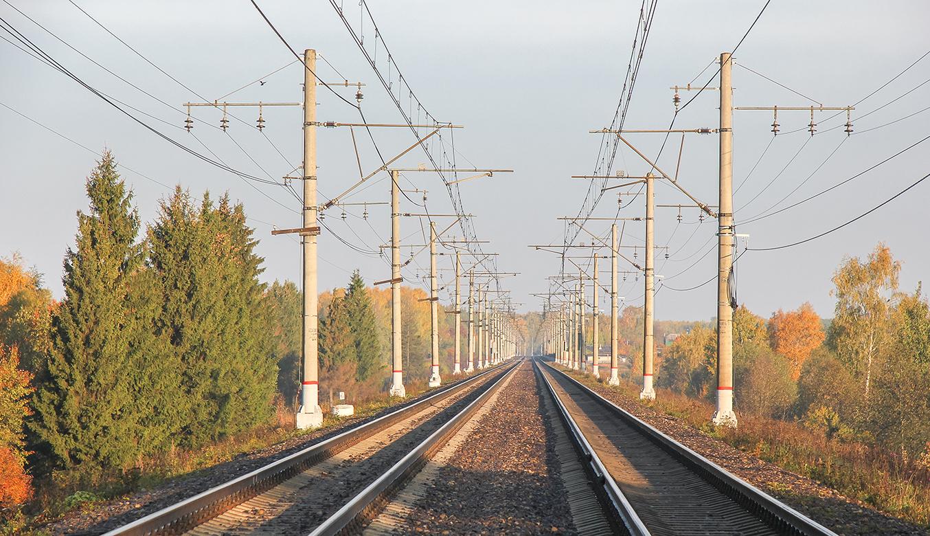 Перегон Клин - Решетниково, вид в сторону платформы Ямуга