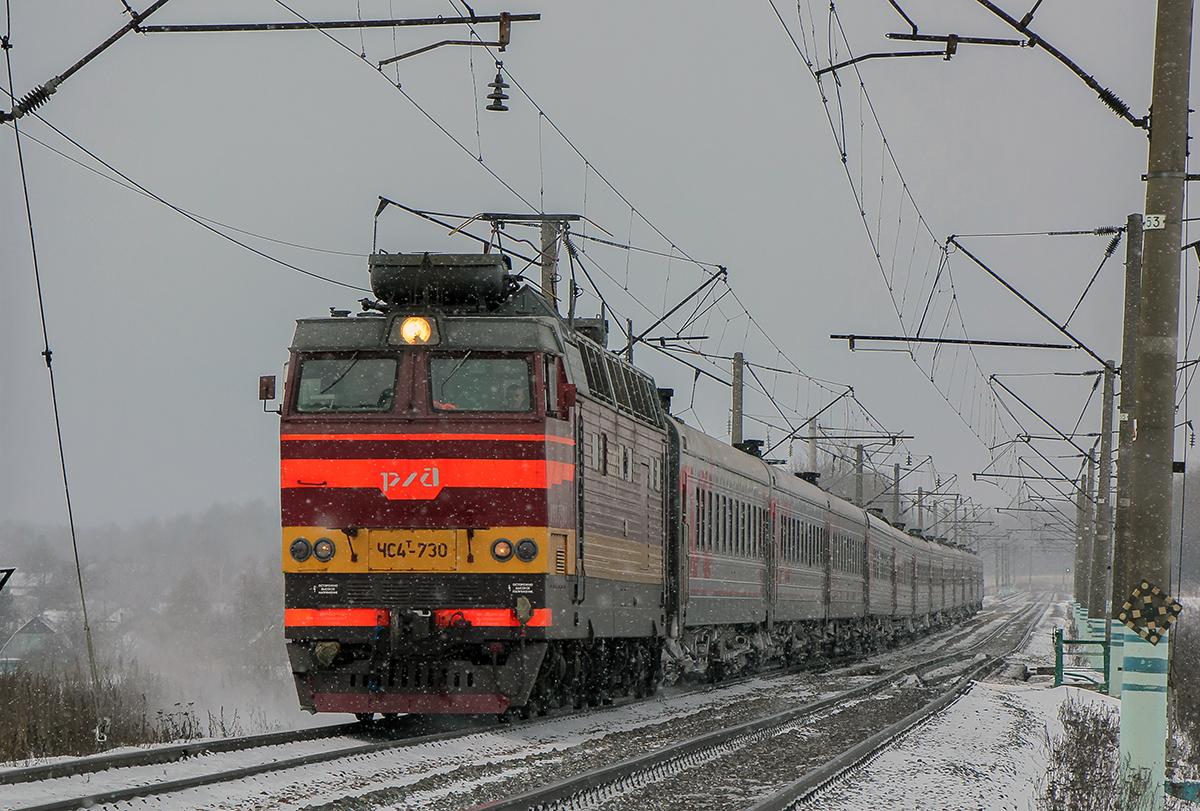 Электровоз ЧС4Т-730 с пассажирским поездом, перегон Семлёво - Вязьма