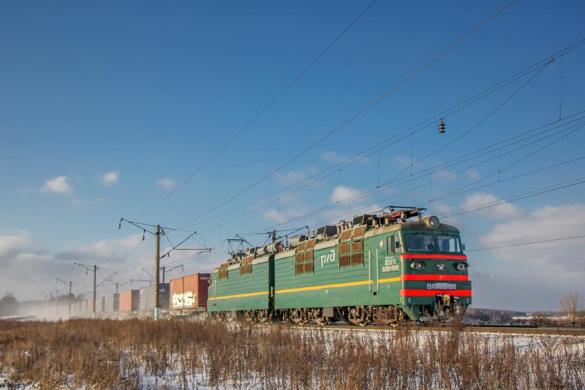 Электровоз ВЛ80Т-1998 с грузовым поездом на перегоне Семлёво - Вязьма