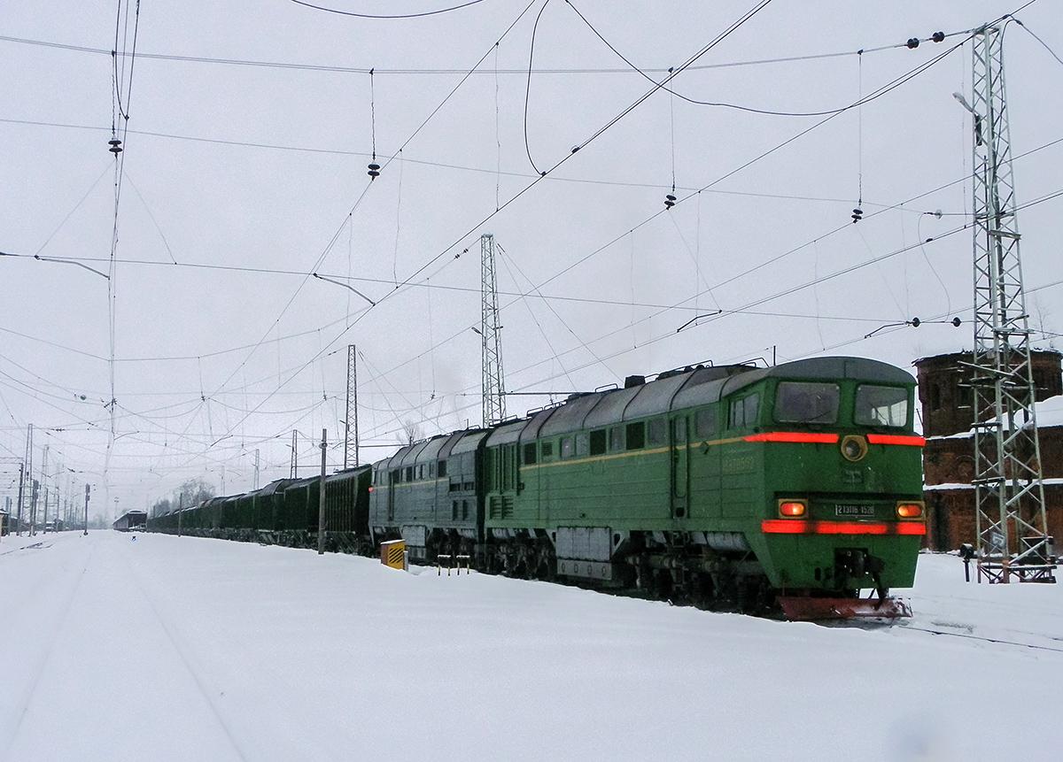 Тепловоз 2ТЭ116-1528 с грузовым поездом на ст. Бологое-Московское