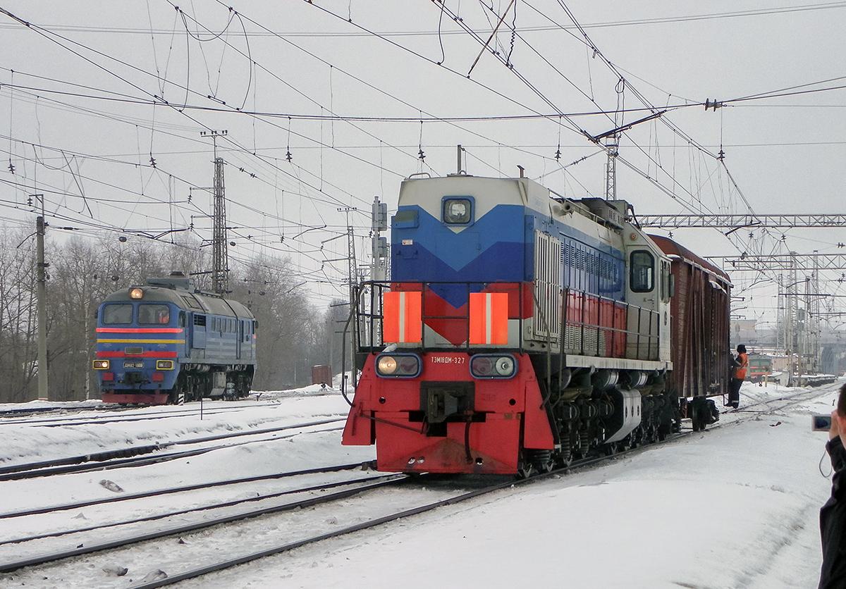 Тепловозы М62-1808 и ТЭМ118ДМ-327 на станции Бологое-Московское