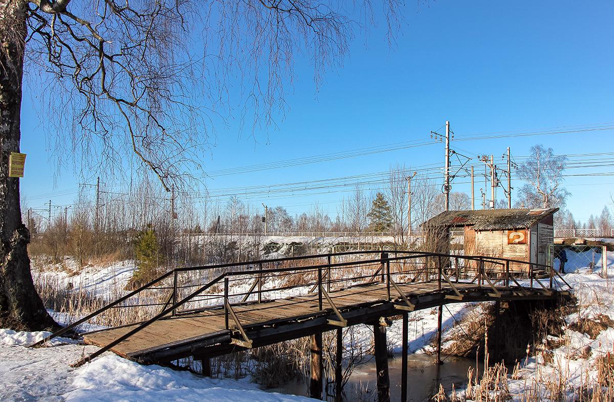 Пешеходный мост близ платформы Кулицкий Мох
