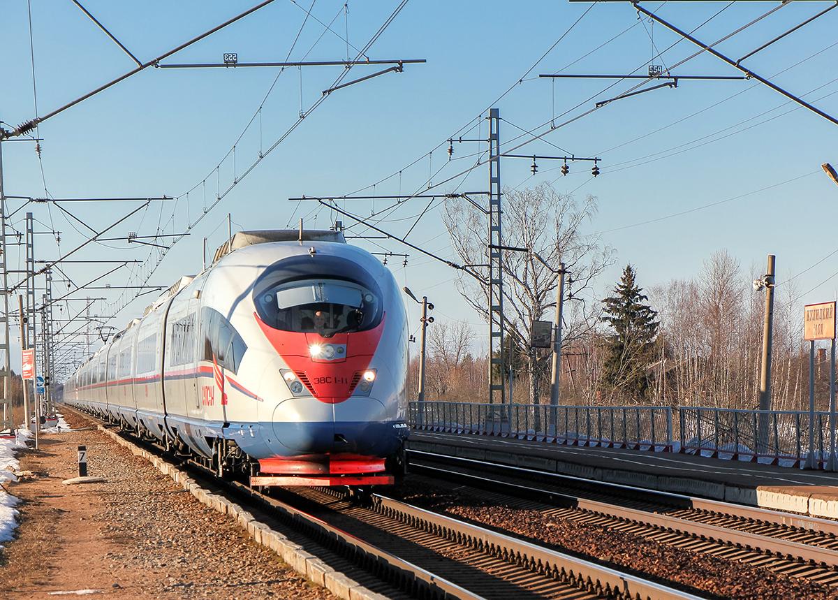 Сдвоенный электропоезд ЭВС1-11/ЭВС1-12 проследует платформу Кулицкий Мох, перегон Лихославль - Дорошиха