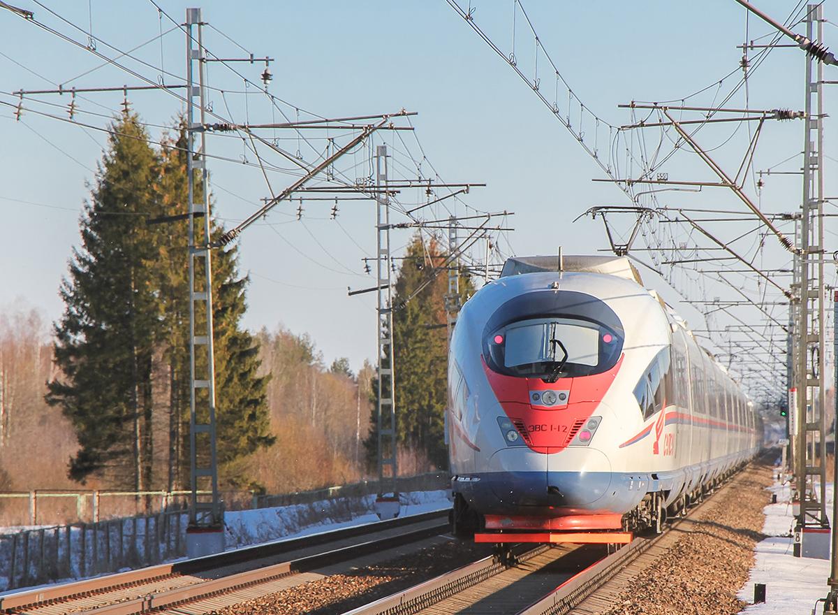 Сдвоенный электропоезд ЭВС1-11/ЭВС1-12 на перегоне Лихославль - Дорошиха