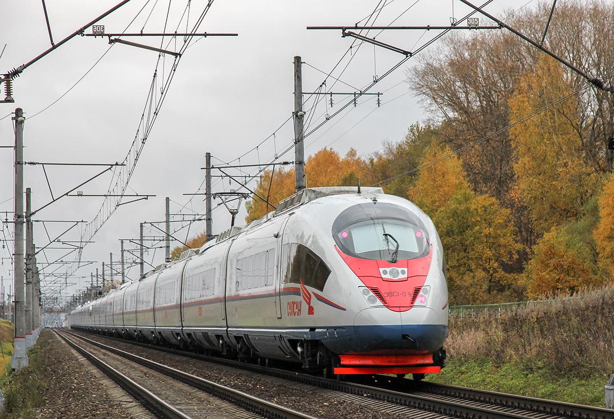 Сдвоенный электропоезд ЭВС1-10/ЭВС1-09 «Сапсан», перегон Завидово - Решетниково