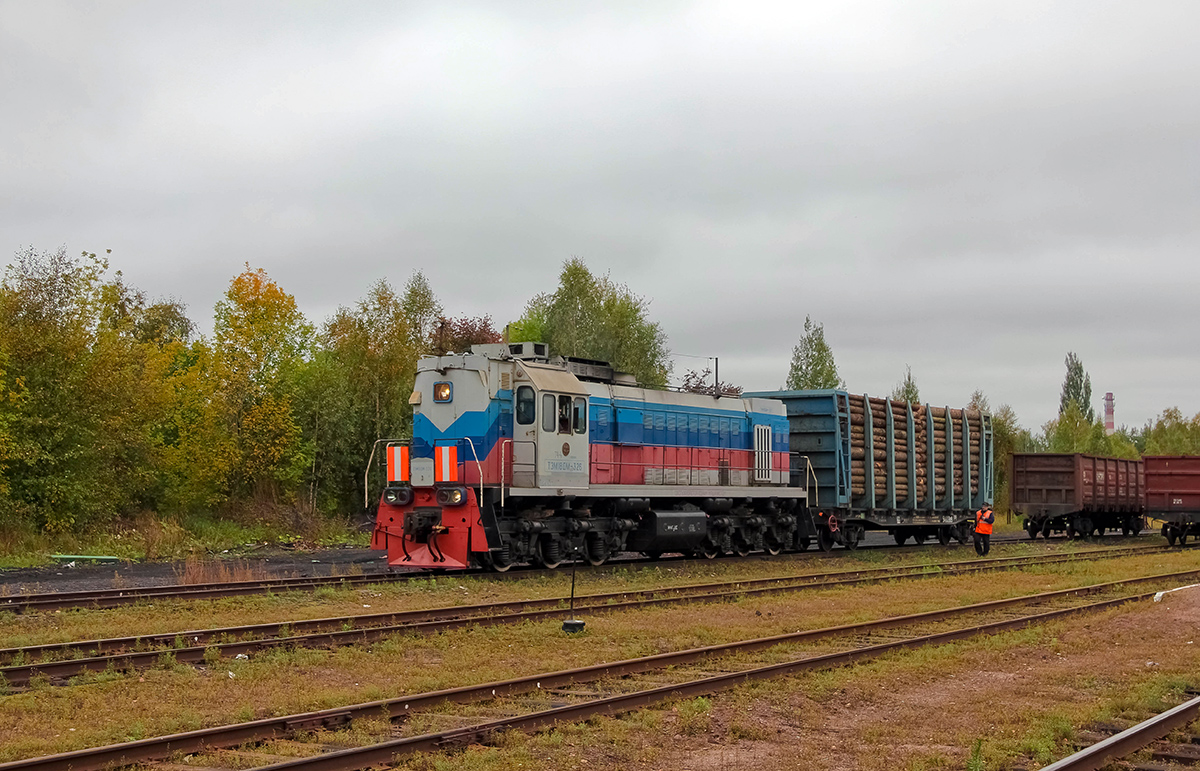 Тепловоз ТЭМ18ДМ-326 на станции Калязин