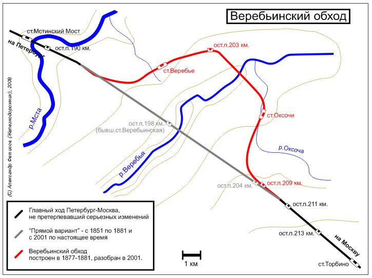 Веребьинский обход, перегон Мстинский Мост - Торбино