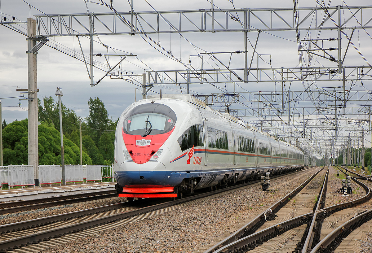 "Электропоезд ЭВС1-14 ""Сапсан"" на станции Торбино,"