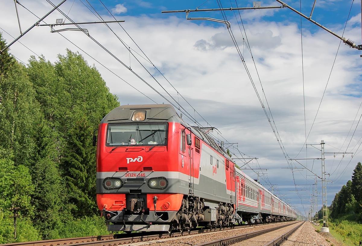 Электровоз ЭП2К-146 с пассажирским поездом, перегон Боровёнка - Торбино