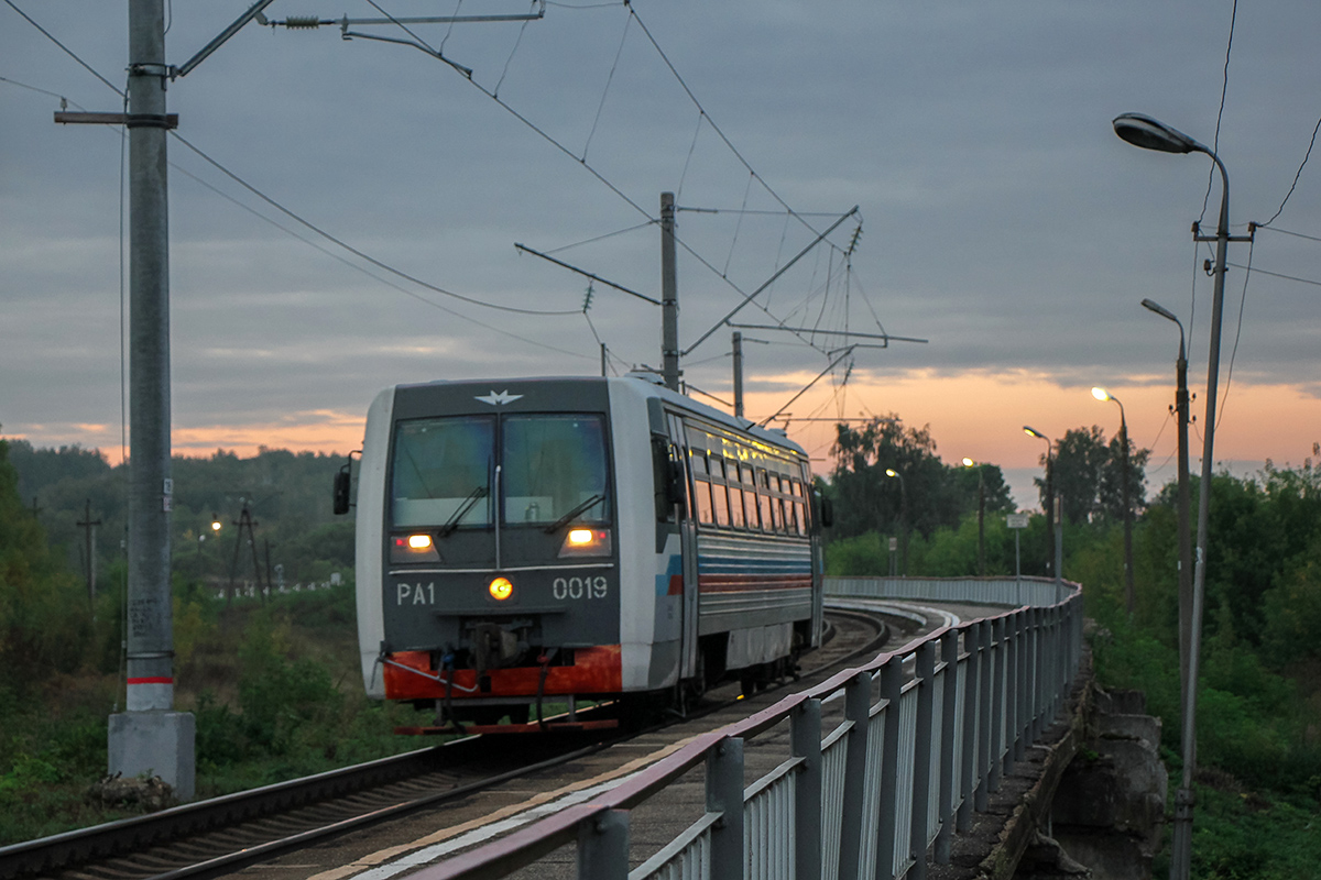 Рельсовый автобус РА1-0019 у платформы Кремлёво, перегон Павелец-1-Тульский - Мшанка