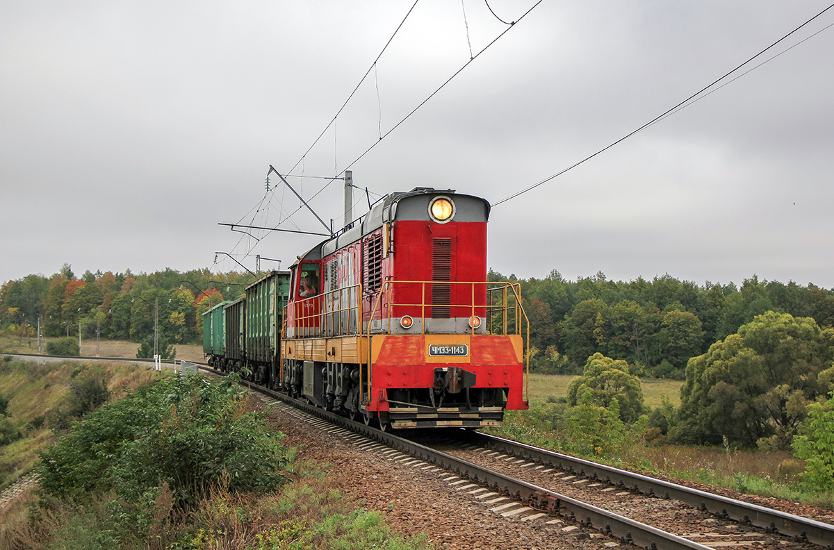 Тепловоз ЧМЭ3-1143 с вагонами, перегон Мшанка - Павелец-I-Тульский