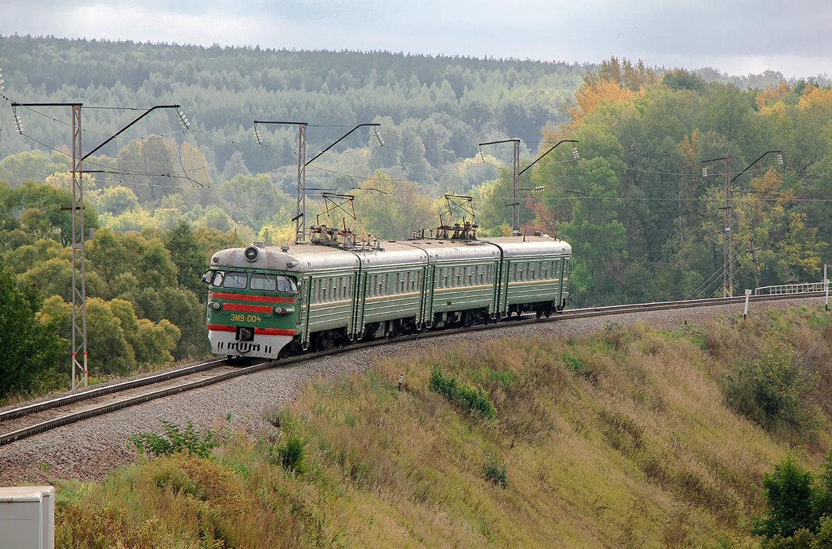 Электропоезд ЭМ9-004 на перегоне Мшанка - Павелец-I-Тульский