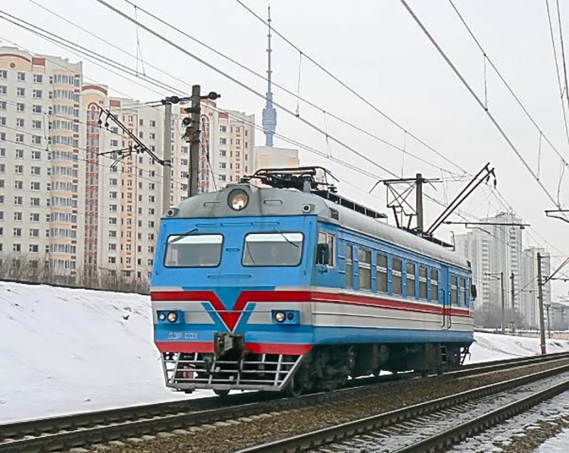 Служебная электромотриса ДЭР-001, близ платформы Петровско-Разумовское, перегон Ховрино - Москва-Товарная