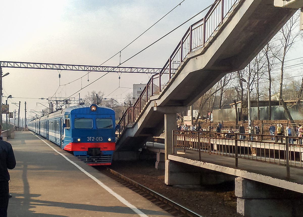 Электропоезд ЭТ2-013 проследует платформу Петровско-Разумовское, перегон Ховрино - Москва-Товарная