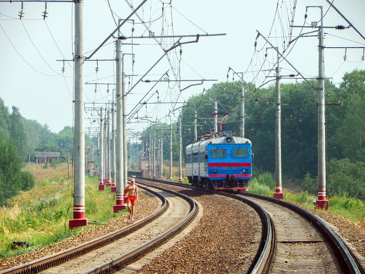 Электромотриса ДЭР-002 близ остановочного пункта Стреглово, перегон Клин - Подсолнечная